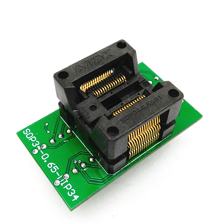 SSOP28(34)-0.65 SSOP28 TSSOP28 to DIP28 Programming Socket Pitch 0.65mm IC Body Width 5.3-5.7mm 208mil-224mil Flash Test Socket Adapter