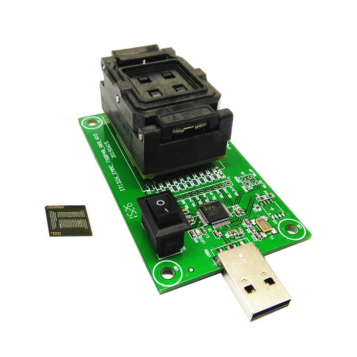 High Quality eMCP221 Socket to USB, for BGA 221 testing, size 11.5x13mm, nand flash programmer, Clamshell Test Socket Wholesale