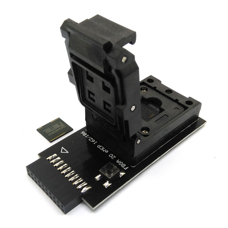 eMMC test Socket to 20pin universal port for nand flash testing for BGA 162 and BGA 186 reader size 11.5x13mm for data recovery