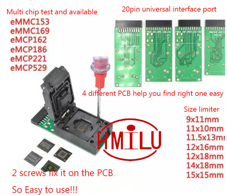 EMMC153 169 EMCP162 189 EMCP221 EMCP529 socket 6 in 1 data recovery tools for android phone
