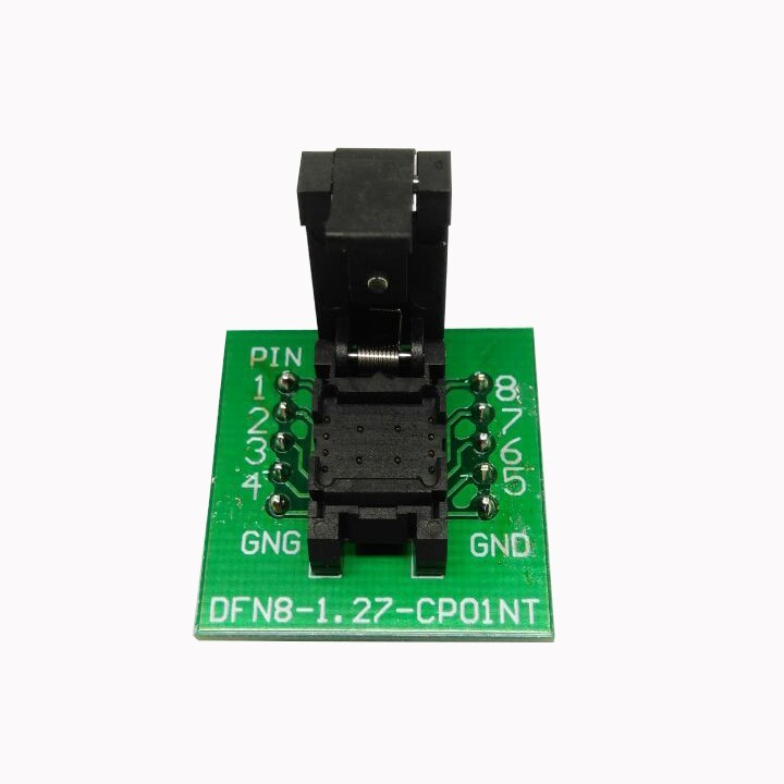 QFN8 DFN8 WSON8 Programming Socket Pogo Pin Test Adapter QFN8-1.27-CPO1PNL Pin Pitch 1.27mm IC Body Size 6*8mm Burn in Socket