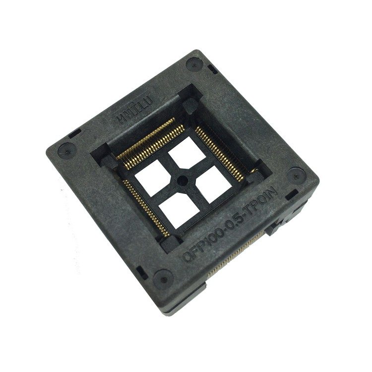 TQFP100 FQFP100 LQFP100 Burn in Socket OTQ-100-0.5-09 Pin Pitch 0.5mm IC Body Size 14x14mm Open Top Test Adapter