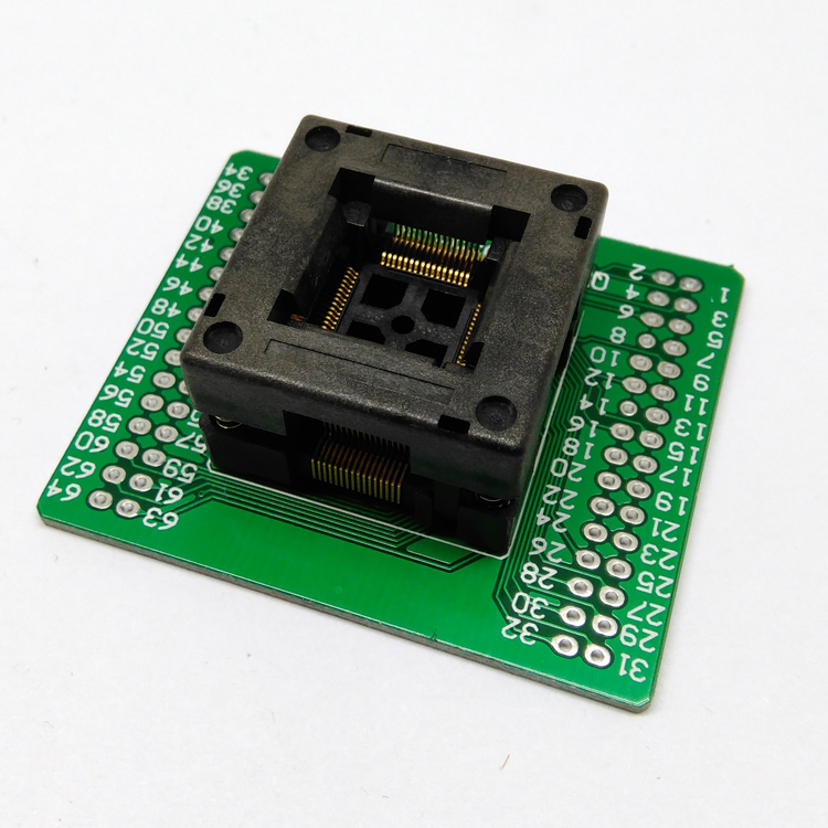 QFP64 TQFP64 LQFP64 Open top Structure Burn in Socket Pitch 0.5mm FPQ-64-0.5-06 Test Flash Programming Adapter