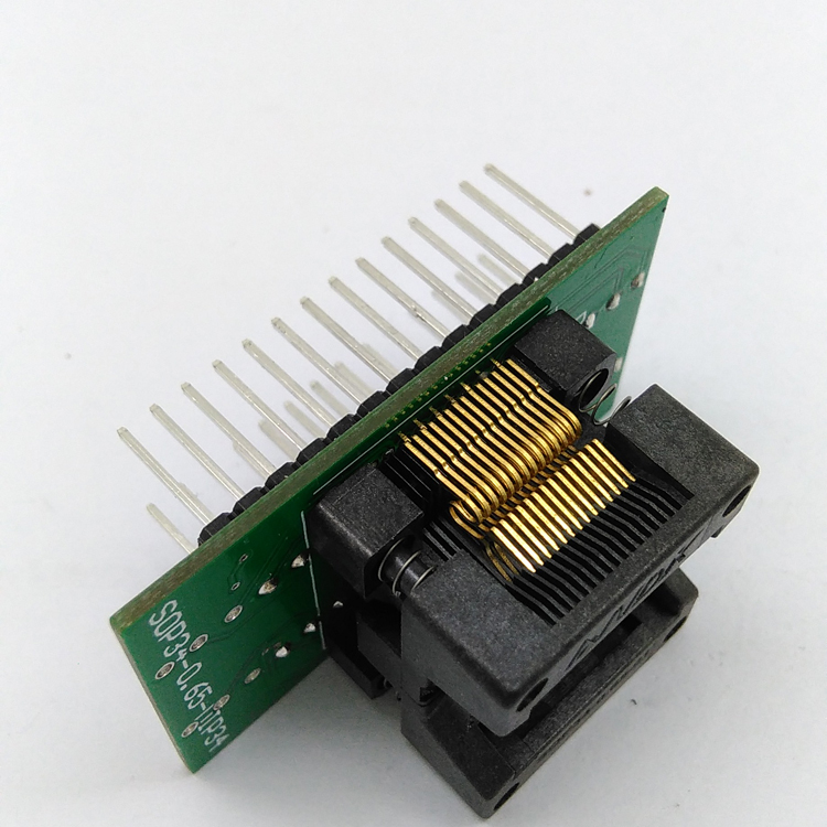 SSOP28 TSSOP28 to DIP28 Programming Socket Pitch 0.65mm IC Body Width 5.3-5.7mm 208mil-224mil Flash Test Socket Adapter